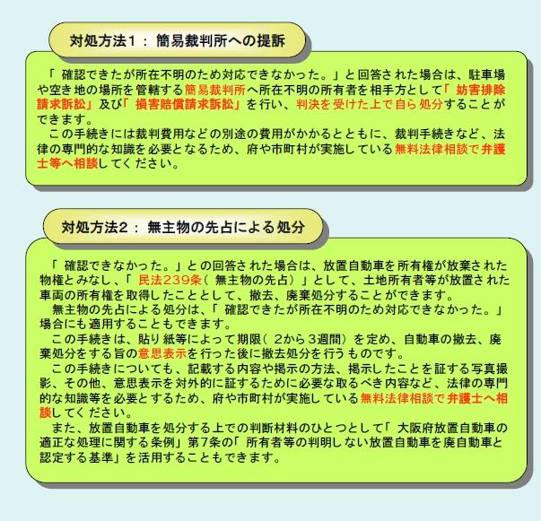 大阪府の放置車両条例