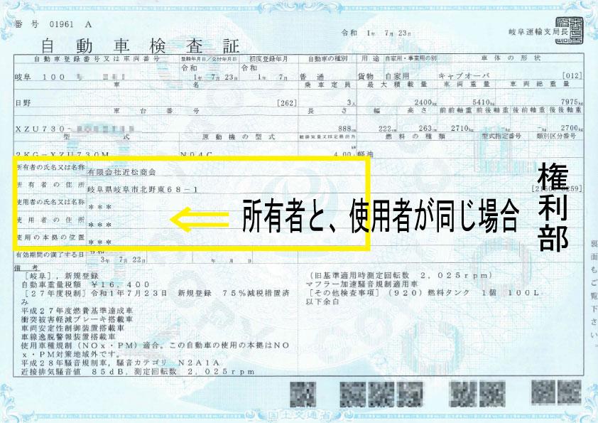 所有者と使用者が同じ場合の車検証記載例