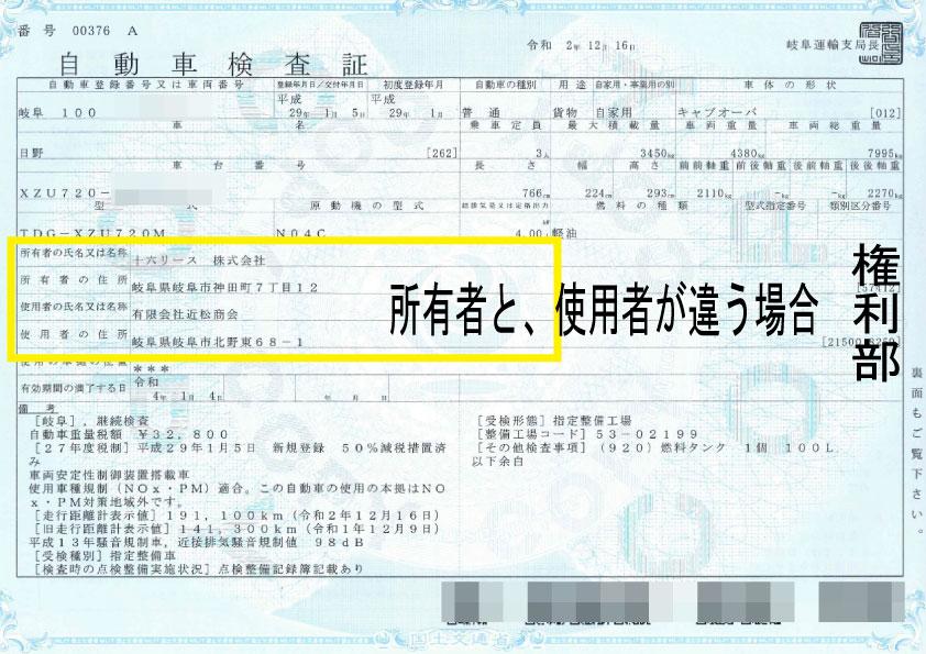 所有者と使用者が違う場合の車検証記載例