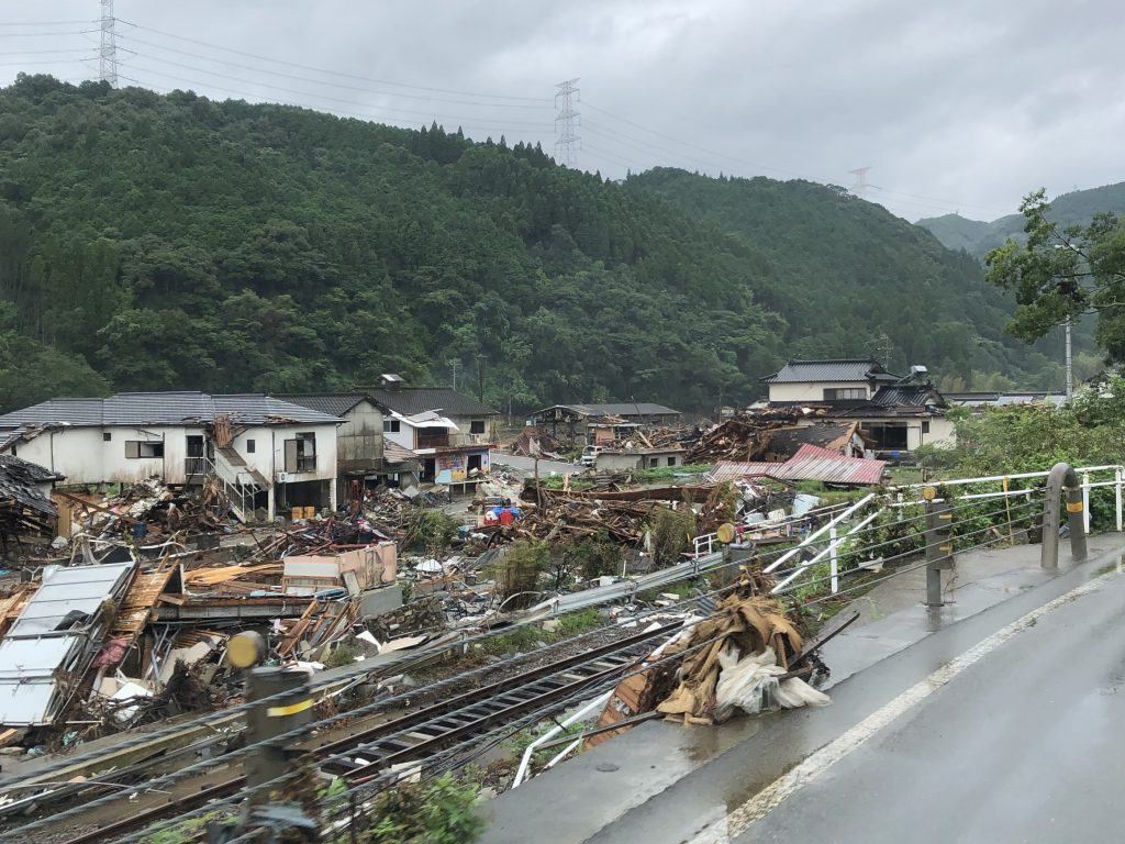 河川が氾濫し水害の被害にあった家屋(2020年九州豪雨)