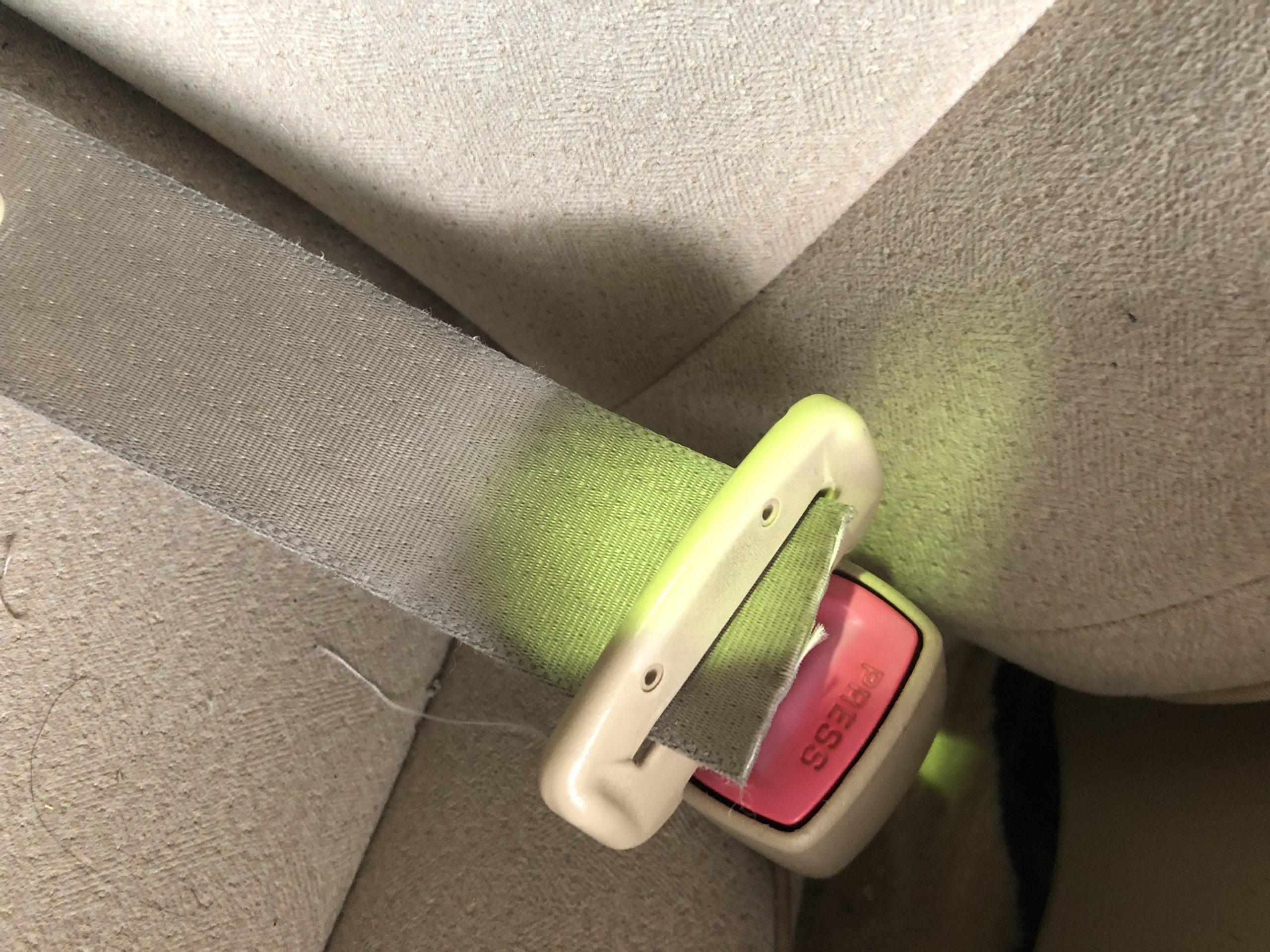 カッターで切断されたシートベルト