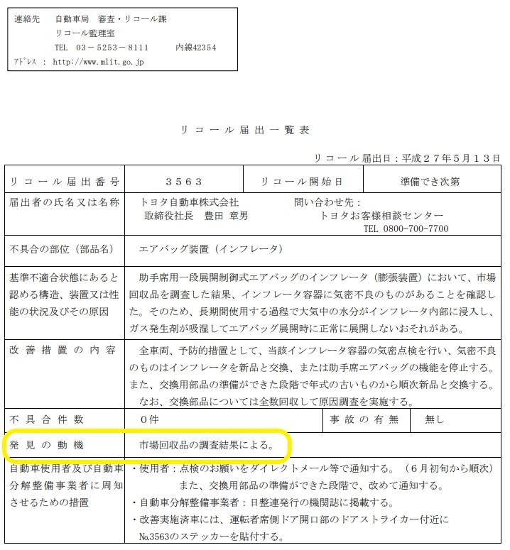 トヨタのリコール届出書2015年5月13日「市場回収品の調査による」との記載です